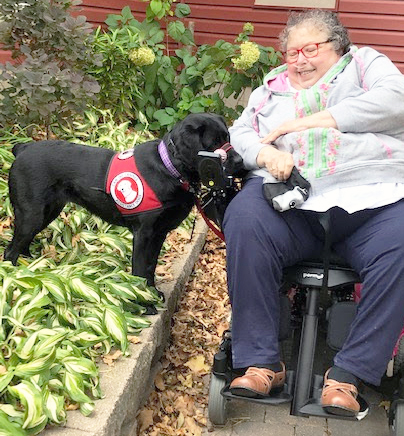 woman sitting in wheelchair with black lab dog next to her