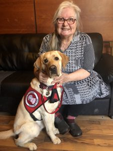 woman and yellow lab service dog