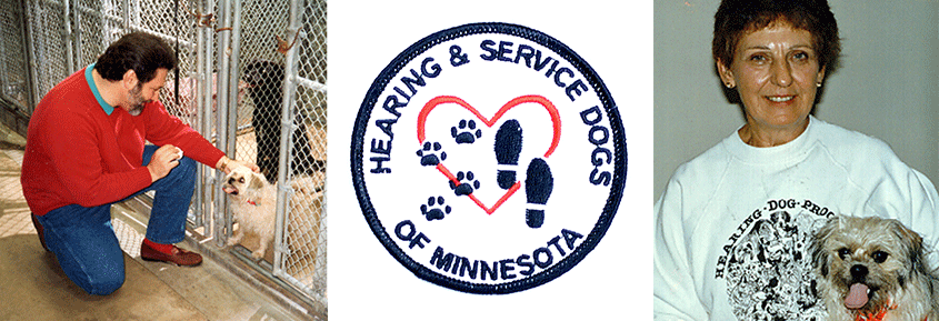 Photo of Al with a dog, Hearing & Service Dogs of Minnesota logo, photo of Marcy Bury with little Annie