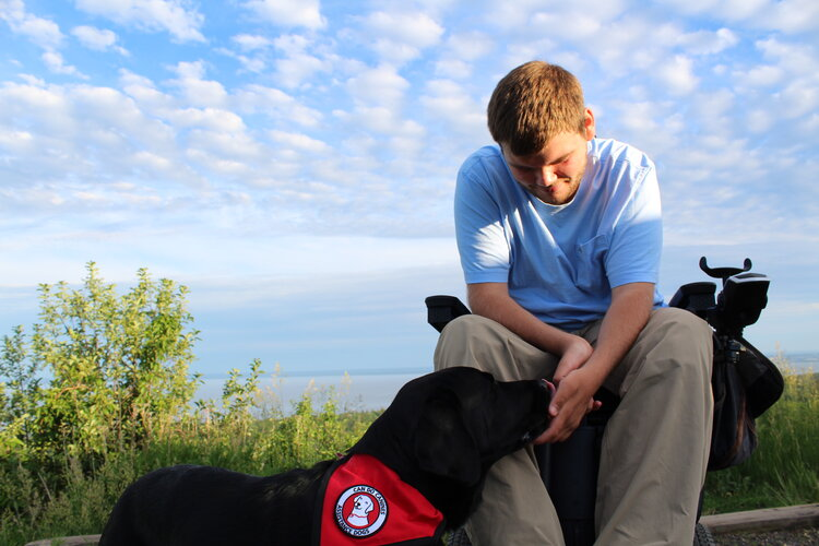 Outdoors on an overlook, a young man in a powerchair pets his assistance dog.