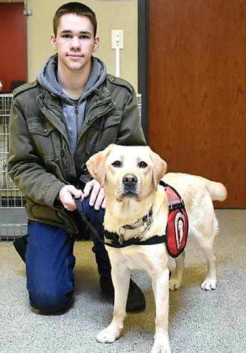 young man kneeling next to yellow Lab service dog