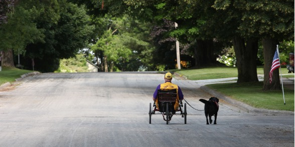 Man on sitting bike going down road with dog on leash