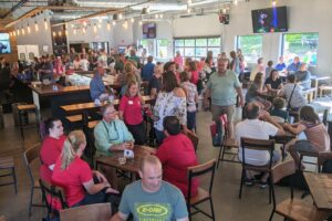 Crowd inside brewery